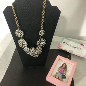 Jeweled J.Crew statement silver necklace piece